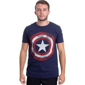インペリコン Impericon メンズ Tシャツ トップス - Distressed Shield Navy - T-Shirt blue|fermart-hobby