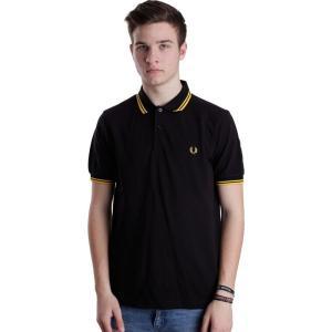 フレッドペリー Fred Perry メンズ ポロシャツ トップス Slim Fit Twin Tipped Black/New Yellow Polo black|fermart-hobby