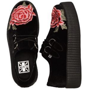 ティーユーケー T.U.K. レディース ブーツ シューズ・靴 Viva Mondo Creeper Embroidered Rose Girl Shoes black|fermart-hobby