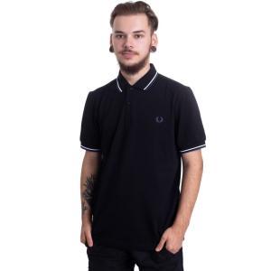 フレッドペリー Fred Perry メンズ ポロシャツ トップス - Twin Tipped Black/White/Mediival Blue - Polo black|fermart-hobby