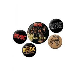 エーシー ディーシー AC/DC グッズ Logo Pack Of 5 Button black|fermart-hobby