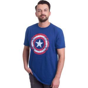 インペリコン Impericon メンズ Tシャツ トップス - Cracked Shield Navy - T-Shirt blue|fermart-hobby