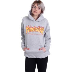 スラッシャー Thrasher レディース パーカー トップス Flame Greymottled Hoodie grey|fermart-hobby
