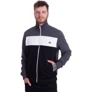 フレッドペリー Fred Perry メンズ ジャージ アウター Colour Block Charcoal Solid Track Jacket grey|fermart-hobby