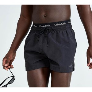 カルバンクライン メンズ 海パン 水着・ビーチウェア Double Wasitband Swim Short Black / Black|fermart-hobby