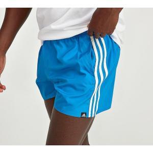 アディダス メンズ 海パン 水着・ビーチウェア 3-Stripe Basic Swim Short Bright Blue|fermart-hobby