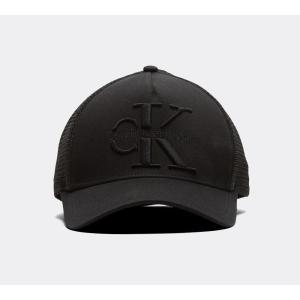 カルバンクライン メンズ キャップ 帽子 Large Logo Embroidered Trucker Cap Black|fermart-hobby