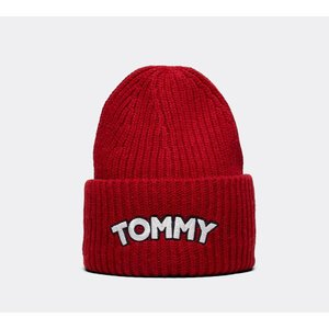 3fb5499c4413c0 トミー ヒルフィガー Tommy Hilfiger レディース ニット 帽子 Logo Patch Beanie Red