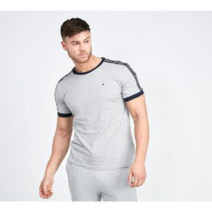 トミー ヒルフィガー Tommy Hilfiger メンズ Tシャツ トップス tape ringer t-shirt Grey Heather|fermart-hobby