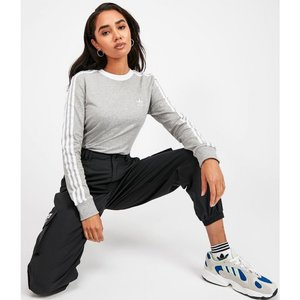 アディダス adidas Originals レディース 長袖Tシャツ トップス three stripe long sleeve t-shirt Grey|fermart-hobby