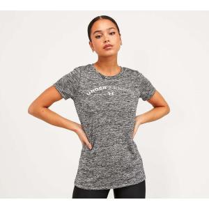アンダーアーマー Under Armour レディース Tシャツ トップス tech twist word logo t-shirt Black Medium Heather fermart-hobby