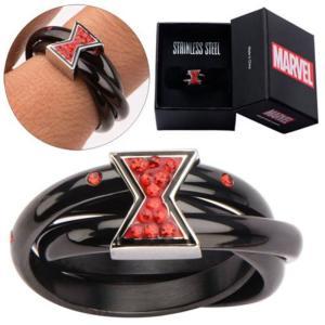 ブラック ウィドウ ボディーヴァイブ Body Vibe Avengers Black Widow Symbol Red Bling Gems Ring|fermart-hobby