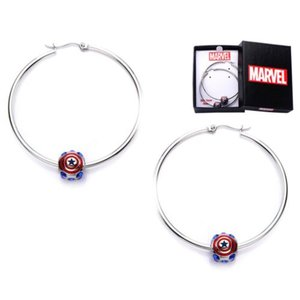 キャプテン アメリカ ボディーヴァイブ Body Vibe Captain America Logo Bead Hoop Earrings|fermart-hobby