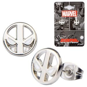 デッドプール ボディーヴァイブ Body Vibe Deadpool Logo Stainless Steel Stud Earrings|fermart-hobby
