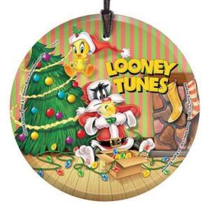 ルーニー テューンズ Looney Tunes Sylvester and Tweety Christmas StarFire Prints Hanging Glass Print|fermart-hobby