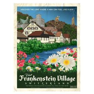 フランケンシュタイン Frankenstein グッズ Universal Monsters Vintage Travel Lithograph Art Print|fermart-hobby