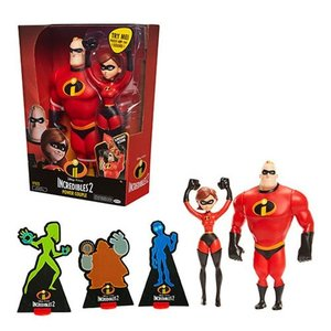 Mr.インクレディブル Incredibles 可動式フィギュア 2 Mr. Incredible and Elastigirl 12-Inch Action Figure Set|fermart-hobby