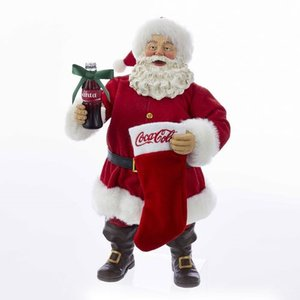 コカ コーラ Coca-Cola 彫像・スタチュー Santa with Coke Bottle and Stocking 10-Inch Statue|fermart-hobby