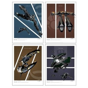 イヴ オンライン クァンタムメカニクス Quantum Mechanix EVE Online Battlecruisers Art Print 4-Pack Set 2: Frigates|fermart-hobby
