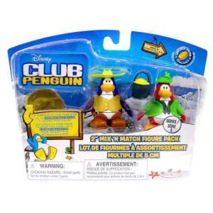 クラブ ペンギン Club Penguin ジャックスパシフィック Jakks Pacific フィギュア おもちゃ Mix 'N Match Series 3 Leprechaun & Cowboy Mini Figure Set|fermart-hobby