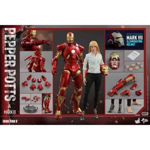 アイアンマン Iron Man ホットトイズ Hot Toys フィギュア おもちゃ 3 Movie Masterpiece Pepper Potts & Mark IX Armor 1/6 Collectible Figure|fermart-hobby