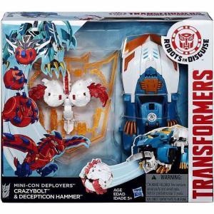 トランスフォーマー Transformers ハズブロ フィギュア おもちゃ Robots in Disguise Minicon Deployers Crazybolt & Decepticon Hammer Action Figure|fermart-hobby