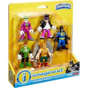 イメージネクスト フィッシャープライス フィギュア おもちゃ DC Super Friends Joker, Penguin, Green Lantern, Hawkman & Batman 3-Inch Figure 5-Pack|fermart-hobby