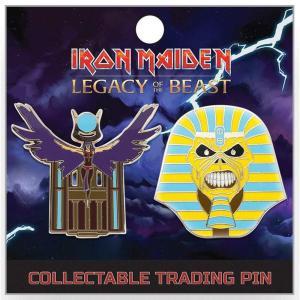 アイアン メイデン Iron Maiden グッズ : Legacy of the Beast Pharaoh Eddie & The Goddess Aset 2-Inch Lapel Pin Set|fermart-hobby