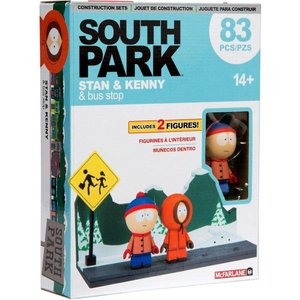 サウスパーク South Park マクファーレントイズ McFarlane Toys おもちゃ Stan & Kenny With the Bus Stop Small Construction Set|fermart-hobby