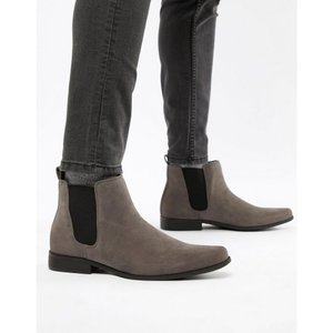 エイソス メンズ ブーツ シューズ・靴 ASOS Chelsea Boots in Grey Faux Suede Grey|fermart-shoes