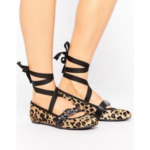 パークレーン レディース スリッポン・フラット シューズ・靴 Park Lane Leopard Leather Strap Ballerina Leaopard pony fermart-shoes