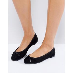 ニュールック レディース フラット シューズ・靴 New Look Suedette Bow Ballet Pump Black fermart-shoes