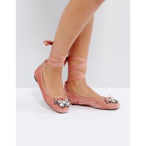 オフィス Office レディース スリッポン・フラット シューズ・靴 Velvet Ballet Shoes Pink velvet fermart-shoes