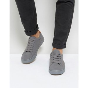 エイソス メンズ スニーカー シューズ・靴 ASOS Lace Up Trainers In Grey Real Suede Grey|fermart-shoes