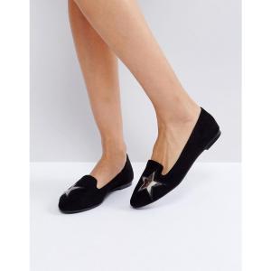 ロンドン レーベル London Rebel レディース スリッポン・フラット シューズ・靴 Star Detail Flat Shoe Blk fermart-shoes