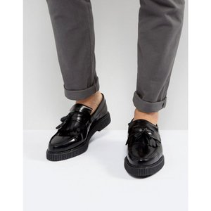 エイソス ASOS DESIGN メンズ ローファー シューズ・靴 loafers in black leather with creeper sole Black|fermart-shoes