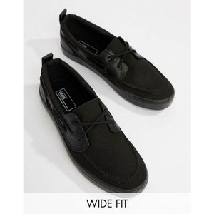 エイソス ASOS DESIGN メンズ デッキシューズ シューズ・靴 Wide Fit boat shoes in black Black|fermart-shoes