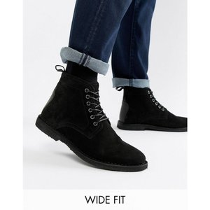 エイソス ASOS DESIGN メンズ ブーツ シューズ・靴 Wide Fit desert boots in black suede with leather detail Black|fermart-shoes