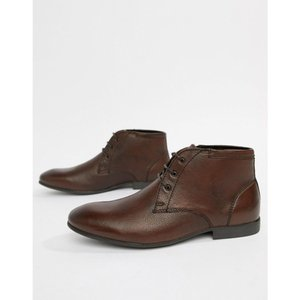 エイソス ASOS DESIGN メンズ ブーツ シューズ・靴 chukka boots in brown leather Brown|fermart-shoes