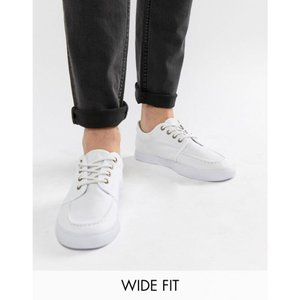 エイソス ASOS DESIGN メンズ スニーカー シューズ・靴 Wide Fit lace up plimsolls in white canvas White|fermart-shoes