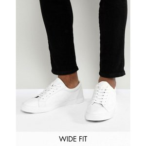 エイソス ASOS DESIGN メンズ スニーカー シューズ・靴 Wide Fit vegan friendly trainers in white White|fermart-shoes