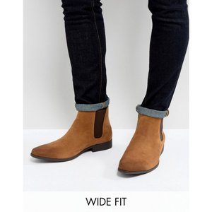 エイソス ASOS DESIGN メンズ ブーツ シューズ・靴 Wide Fit chelsea boots in tan faux suede Tan|fermart-shoes