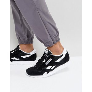 リーボック メンズ スニーカー シューズ・靴 Reebok Classic Leather Nylon Trainers In Black 6604 Black|fermart-shoes
