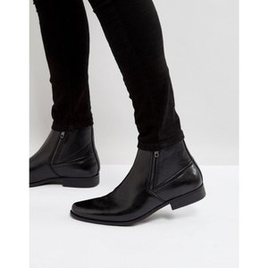 エイソス ASOS DESIGN メンズ ブーツ シューズ・靴 chelsea boots in black faux leather with zips Black|fermart-shoes