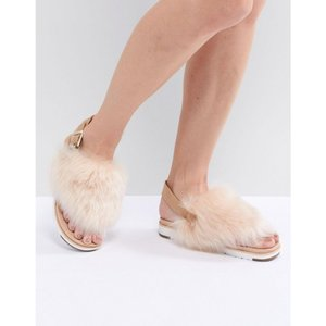 アグ レディース サンダル・ミュール シューズ・靴 Holly Beige Fluffy Beige Buckle Back Flat Sandals Soft ochre|fermart-shoes