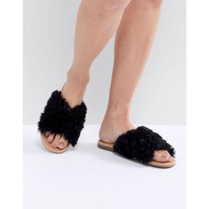 アグ レディース サンダル・ミュール シューズ・靴 Joni Black Shaggy Cross Strap Slides Black|fermart-shoes