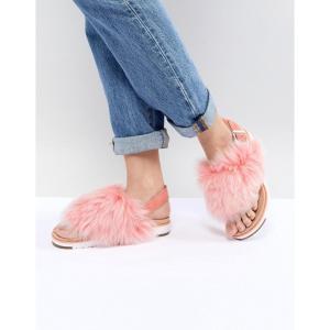 アグ レディース サンダル・ミュール シューズ・靴 Holly Pink Fluffy Buckle Back Flat Sandals Fusion coral|fermart-shoes
