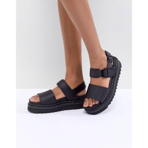 ドクターマーチン Dr Martens レディース サンダル・ミュール フラット シューズ・靴 Voss black Leather Flat Chunky Sandals fermart-shoes