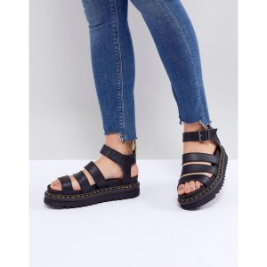 ドクターマーチン レディース サンダル・ミュール シューズ・靴 Blaire Vegan Strappy Flat Sandals in Black Black felix rub off|fermart-shoes