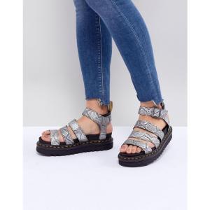 ドクターマーチン レディース サンダル・ミュール シューズ・靴 Blaire Vegan Strappy Flat Sandals in Silver Silver metallic snak fermart-shoes